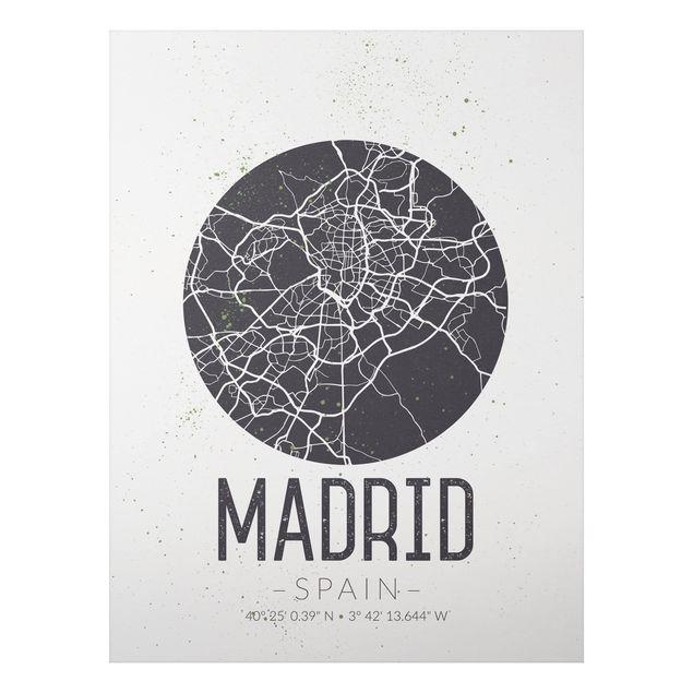 Alu-Dibond Bild - Stadtplan Madrid - Retro