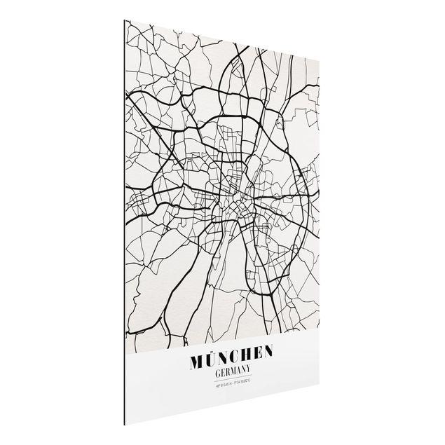 Alu-Dibond Bild - Stadtplan München - Klassik