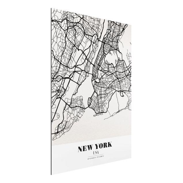 Alu-Dibond Bild - Stadtplan New York - Klassik