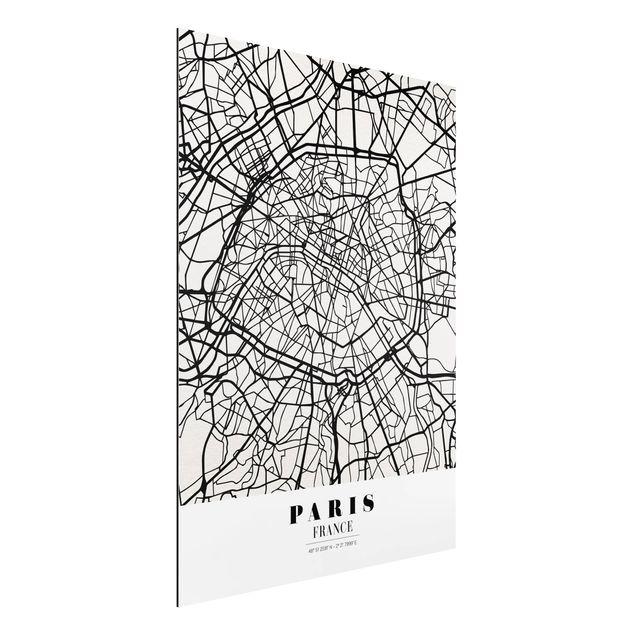 Alu-Dibond Bild - Stadtplan Paris - Klassik