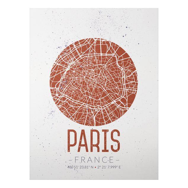 Alu-Dibond Bild - Stadtplan Paris - Retro