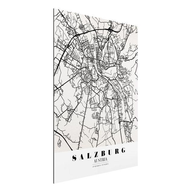 Alu-Dibond Bild - Stadtplan Salzburg - Klassik