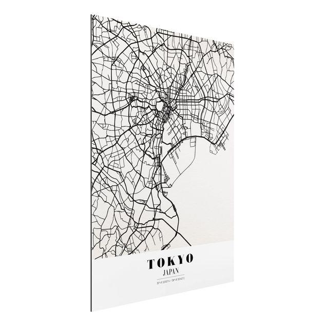 Alu-Dibond Bild - Stadtplan Tokyo - Klassik