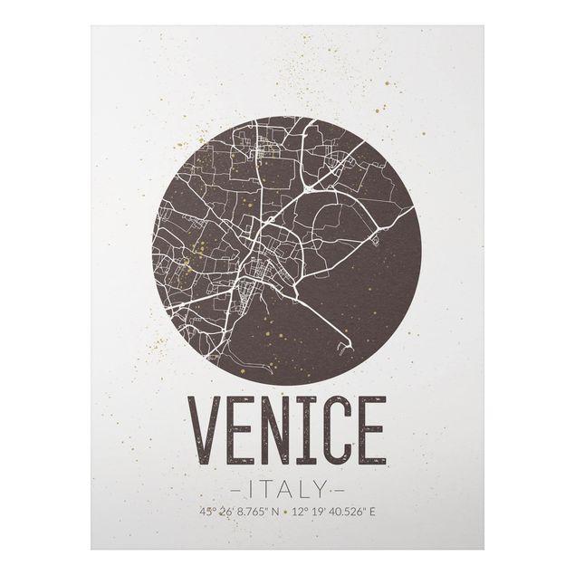 Alu-Dibond Bild - Stadtplan Venice - Retro