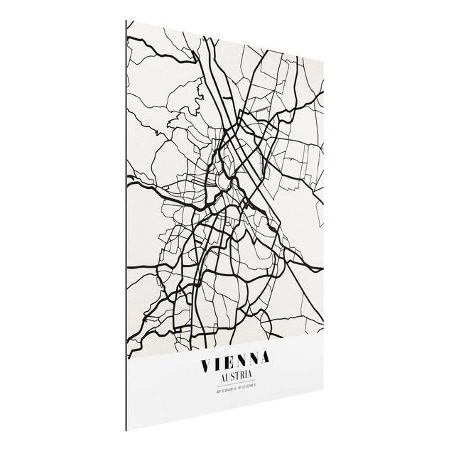 Alu-Dibond Bild - Stadtplan Vienna - Klassik
