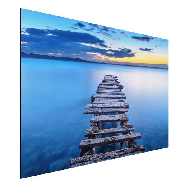 Alu-Dibond Bild - Steg ins ruhige Meer
