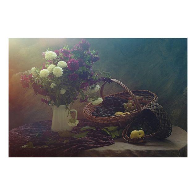 Alu-Dibond Bild - Stillleben mit Blumenvase