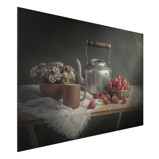 Alu-Dibond Bild - Stillleben mit Erdbeeren