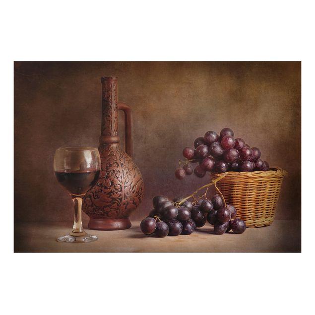 Alu-Dibond Bild - Stillleben mit Weintrauben