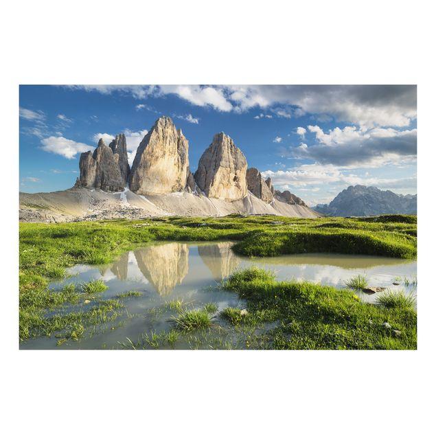 Alu-Dibond Bild - Südtiroler Zinnen und Wasserspiegelung