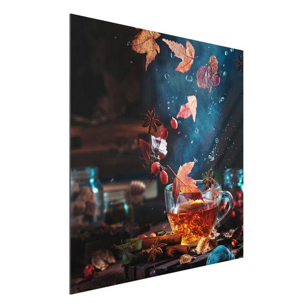 Alu-Dibond Bild - Teetasse im Herbst