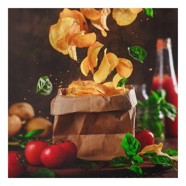 Alu-Dibond Bild - Tomate-Basilikum-Snack