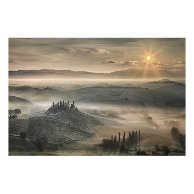 Alu-Dibond Bild - Toskana-Morgen
