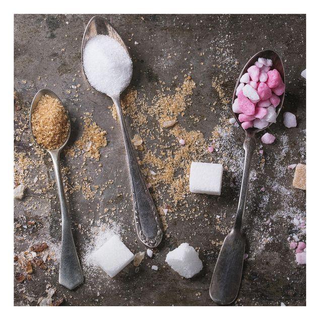 Alu-Dibond Bild - Vintage Löffel mit Zucker