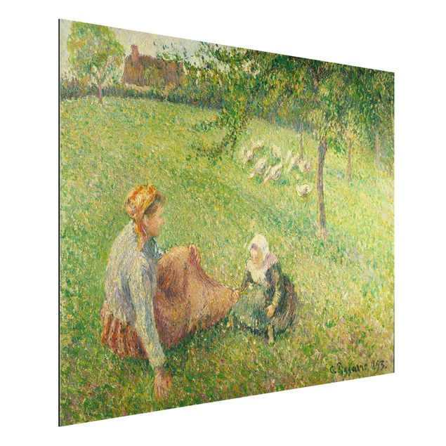 Alu-Dibond Bild - Camille Pissarro - Die Gänsehirtin