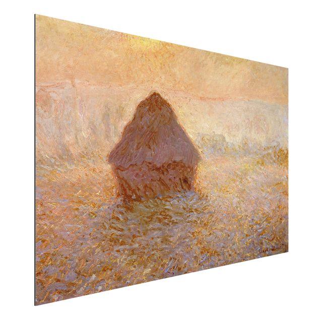 Alu-Dibond Bild - Claude Monet - Heuhaufen, Sonne bei Nebel