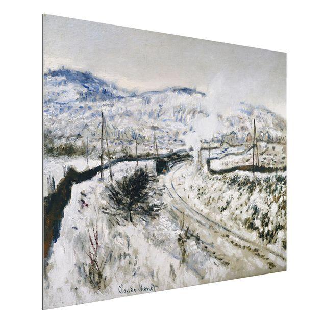Alu-Dibond Bild - Claude Monet - Zug im Schnee bei Argenteuil