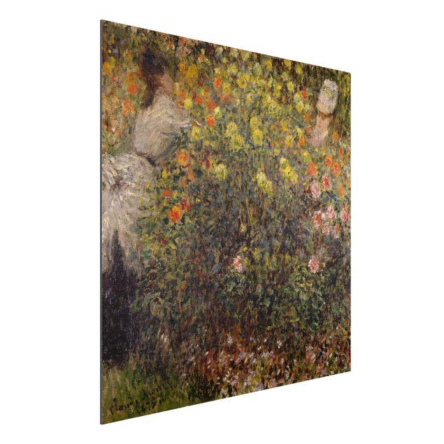 Alu-Dibond Bild - Claude Monet - Zwei Damen im Blumengarten