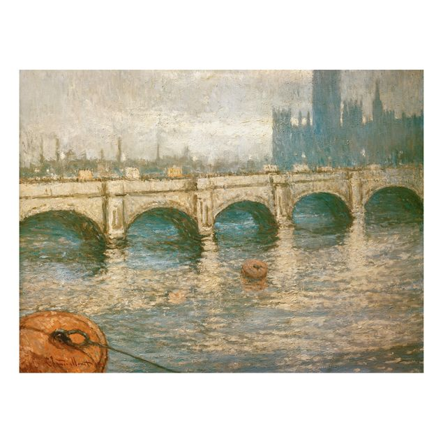 Alu-Dibond Bild - Claude Monet - Themsebrücke und Parlamentsgebäude in London