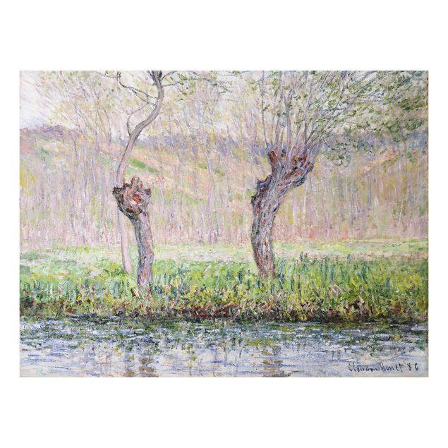 Alu-Dibond Bild - Claude Monet - Frühling, Weidenbäume