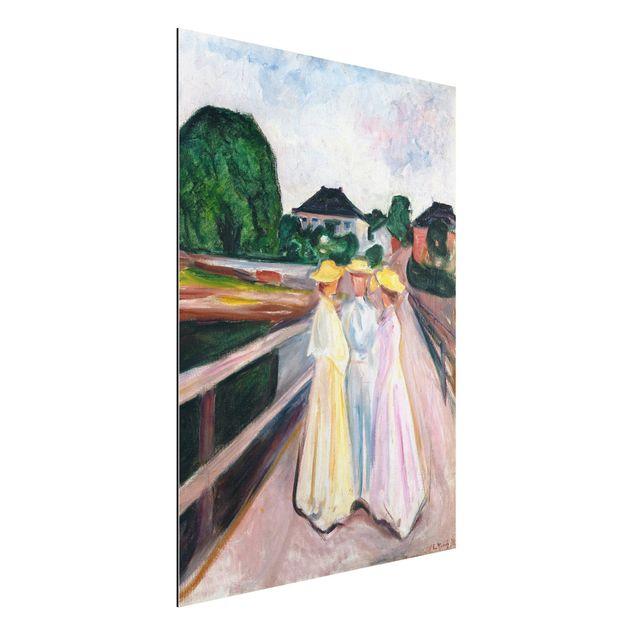 Alu-Dibond Bild - Edvard Munch - Drei Mädchen auf der Brücke