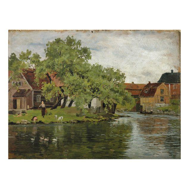Alu-Dibond Bild - Edvard Munch - Szene am Fluss Akerselven