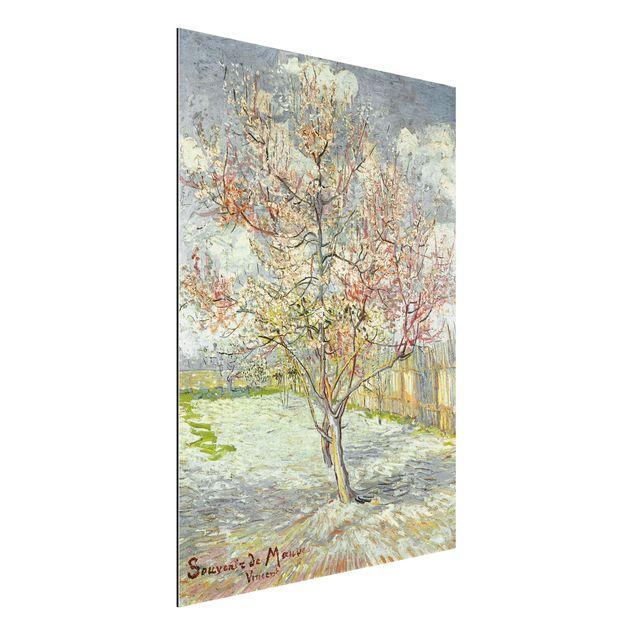 Alu-Dibond Bild - Vincent van Gogh - Blühende Pfirsichbäume