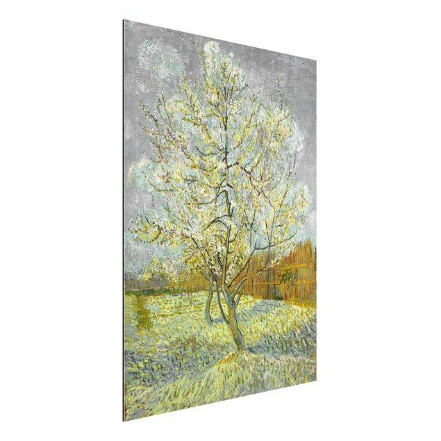 Alu-Dibond Bild - Vincent van Gogh - Blühender Pfirsichbaum (rosa)