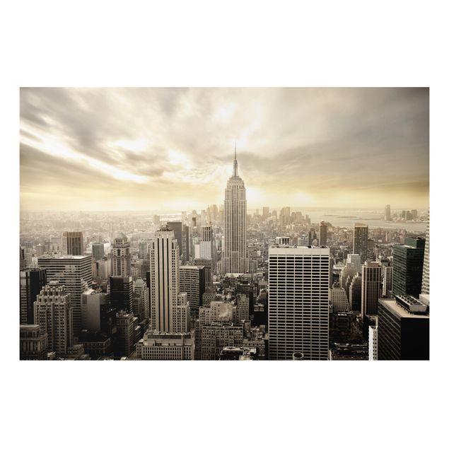 Alu-Dibond Bild - Manhattan Dawn