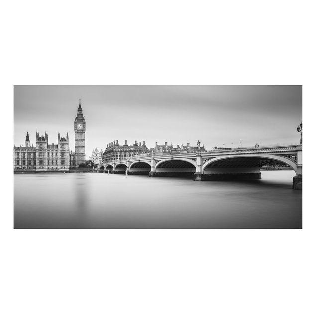 Aluminium Print - Westminster Brücke und Big Ben - Querformat 1:2