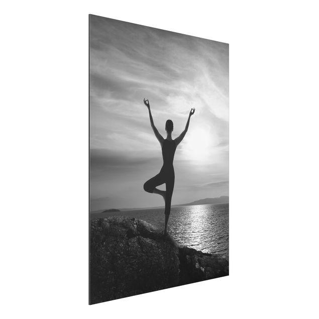 Alu-Dibond Bild - Yoga schwarz weiss
