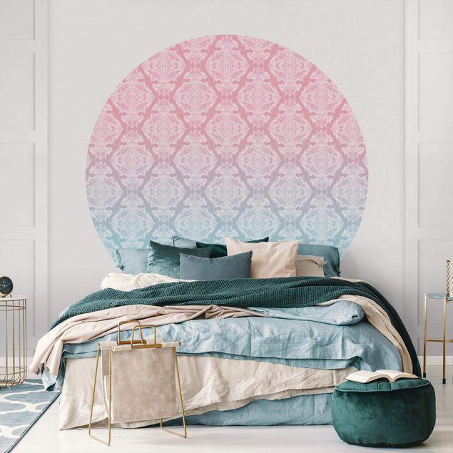 Runde Tapete selbstklebend - Aquarell Barock Muster mit Blau Rosa Verlauf
