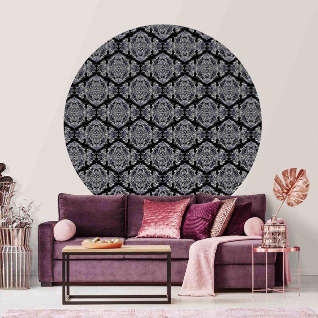 Runde Tapete selbstklebend - Aquarell Barock Muster mit Ornamenten vor Schwarz