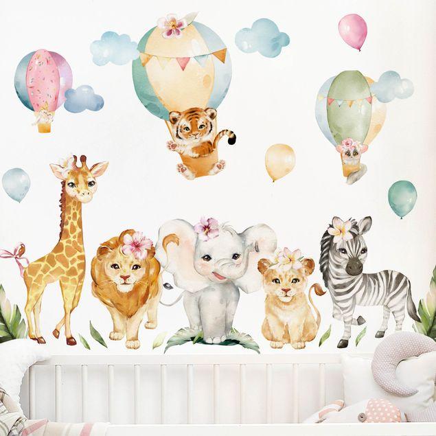 Wandtattoo mehrfarbig - Aquarell Safari Ballon Tiere Set