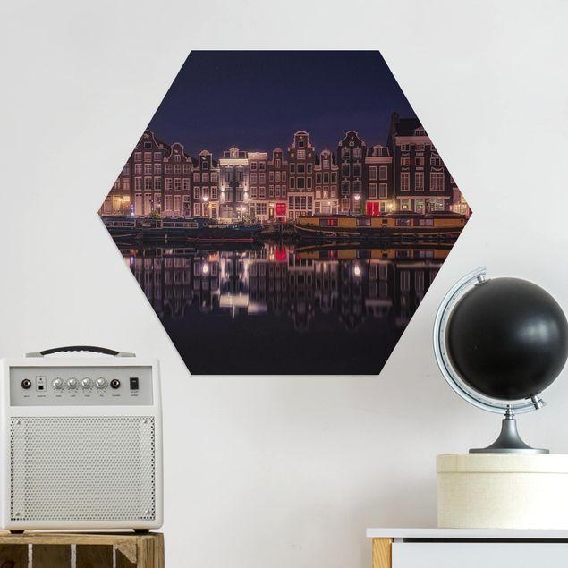 Hexagon Bild Alu-Dibond - Hausboote in Amsterdam