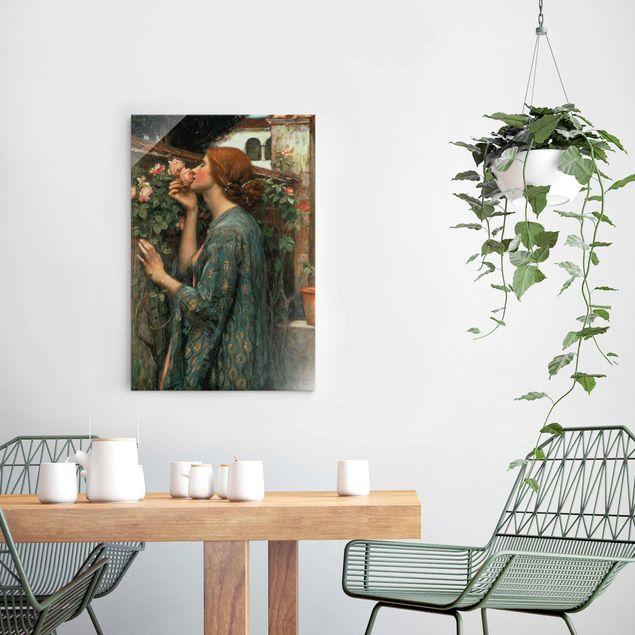 Glasbild - John William Waterhouse - Die Seele der Rose - Hochformat 3:2