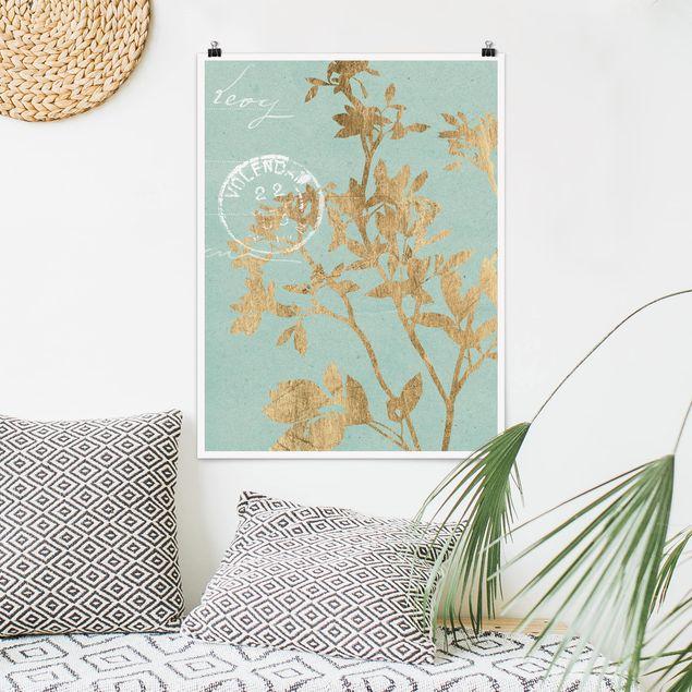 Poster - Goldene Blätter auf Turquoise II - Hochformat 3:4