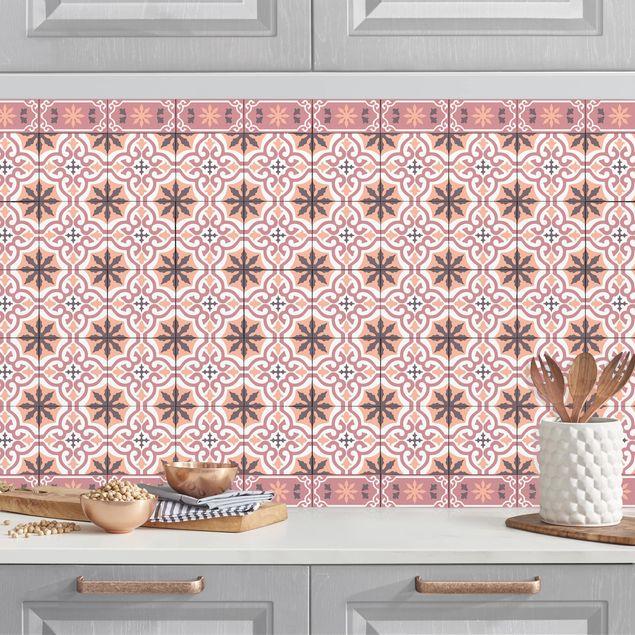 Küchenrückwand - Geometrischer Fliesenmix Kreuz Orange