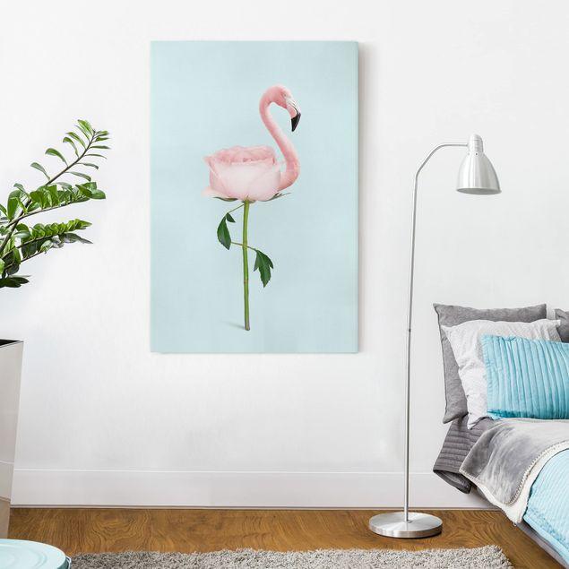 Leinwandbild - Jonas Loose - Flamingo mit Rose - Hochformat 3:2