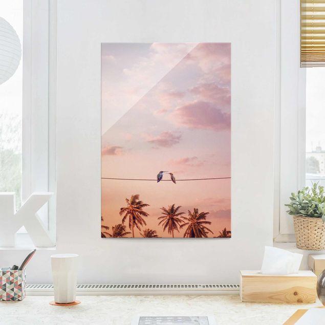 Glasbild - Jonas Loose - Sonnenuntergang mit Kolibris - Hochformat 3:2