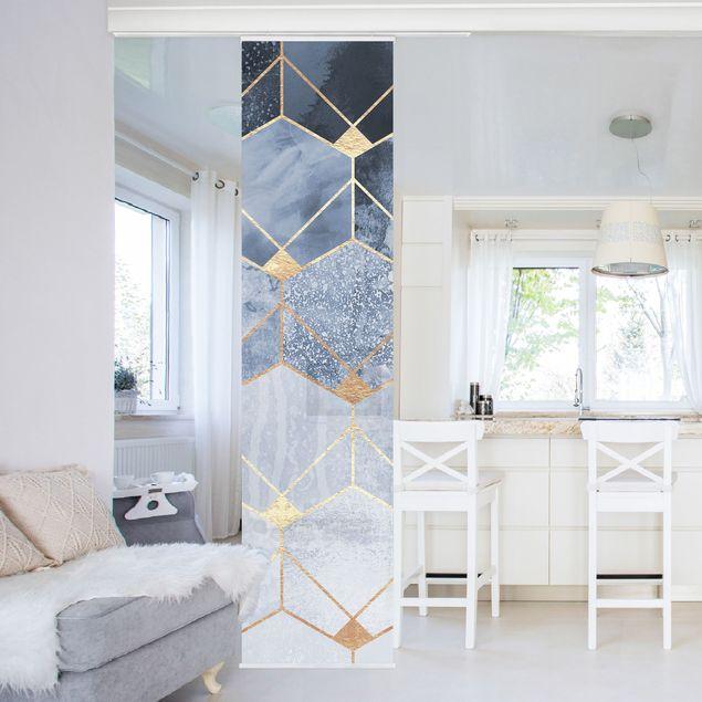Schiebegardinen Set - Elisabeth Fredriksson - Blaue Geometrie goldenes Art Deco - 6 Flächenvorhänge