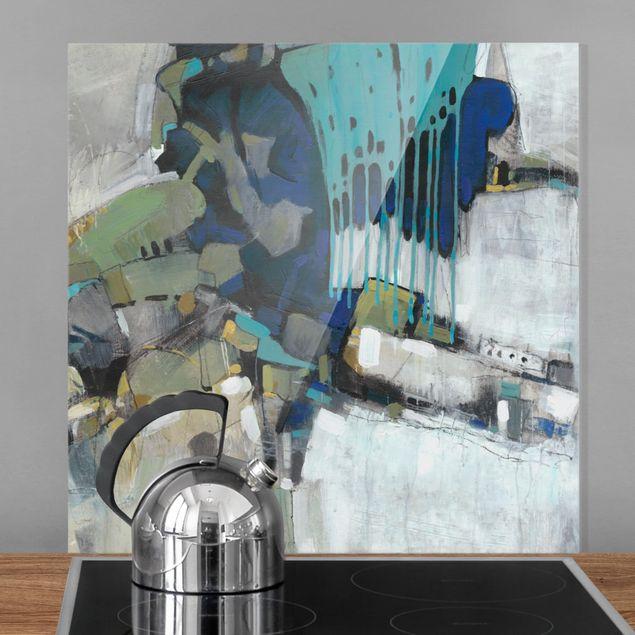 Glas Spritzschutz - Trennung Türkis I - Quadrat - 1:1
