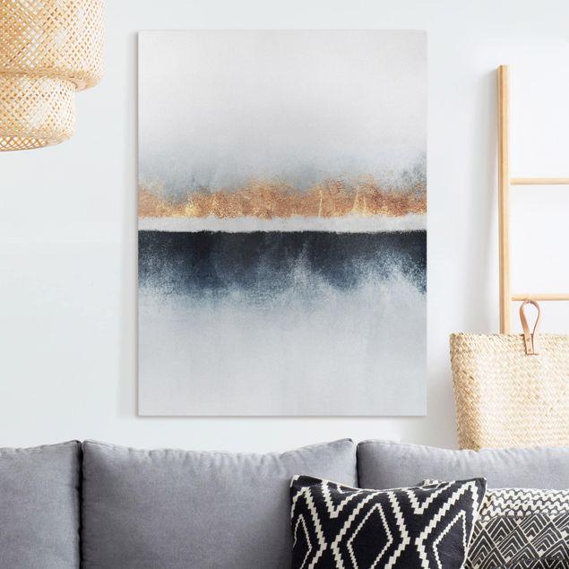 Leinwandbild - Goldener Horizont Aquarell - Hochformat 4:3