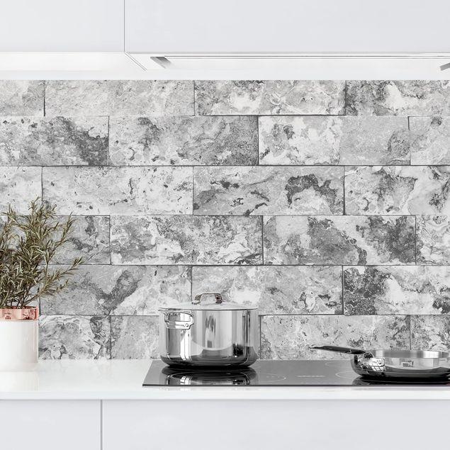 Küchenrückwand - Steinwand Naturmarmor grau