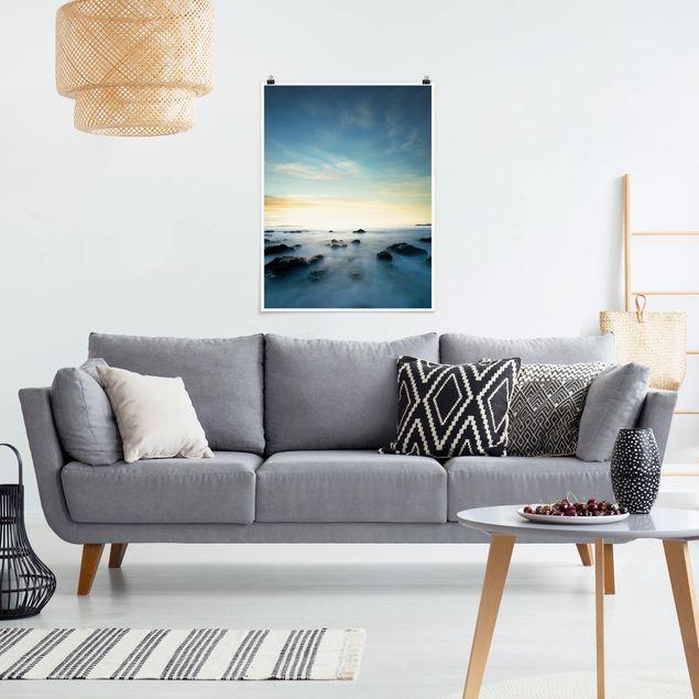 Poster - Sonnenuntergang über dem Ozean - Hochformat 3:4