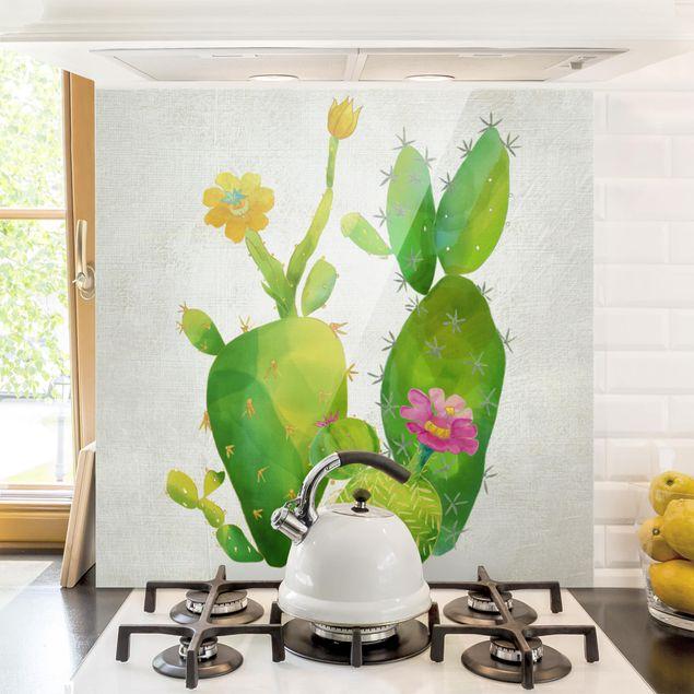 Glas Spritzschutz - Kaktusfamilie rosa gelb - Quadrat - 1:1