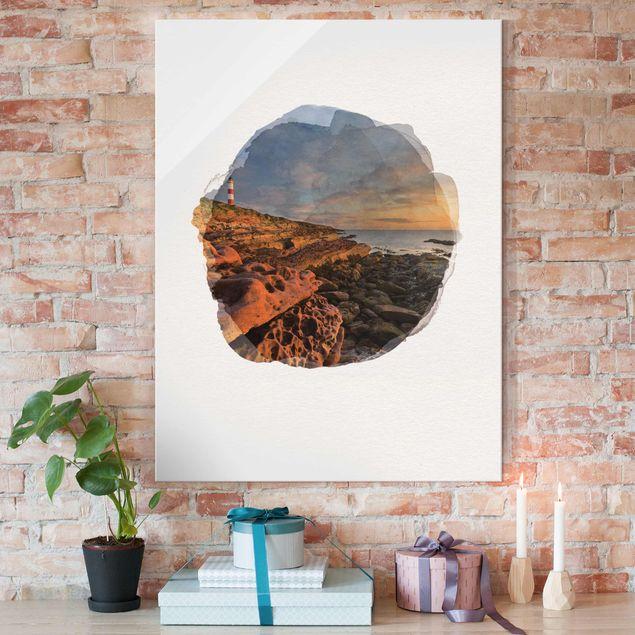 Glasbild - Wasserfarben - Tarbat Ness Meer & Leuchtturm bei Sonnenuntergang - Hochformat 4:3