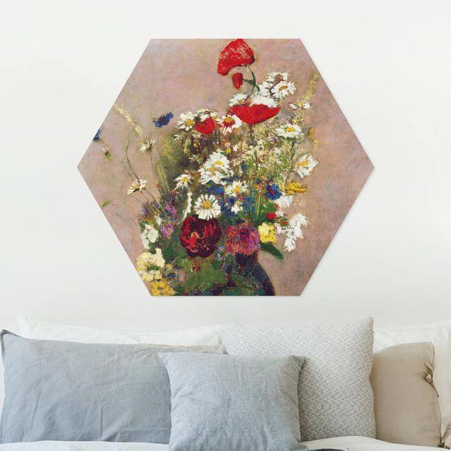 Hexagon Bild Forex - Odilon Redon - Blumenvase mit Mohn