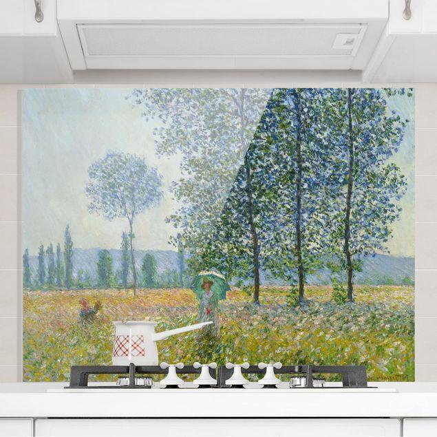Glas Spritzschutz - Claude Monet - Felder im Frühling - Querformat - 4:3