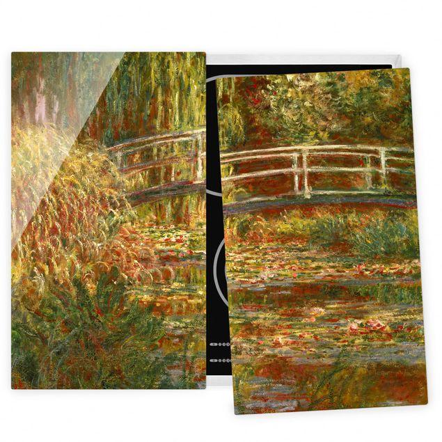 Herdabdeckplatte Glas - Claude Monet - Seerosenteich und japanische Brücke (Harmonie in rosa) - 52x80cm